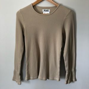 Flax Thermal Long Bell Sleeve Tan S